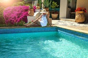 Woman relaxing in hat