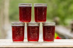 Strawberry jelly in jars