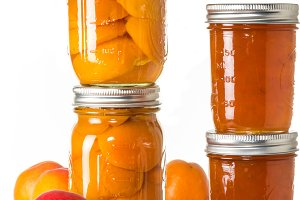 Apricots prserved in jars