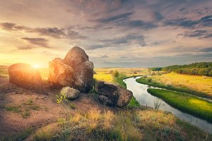Summer landscape in the steppe