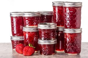 Jars of strawberry preserves