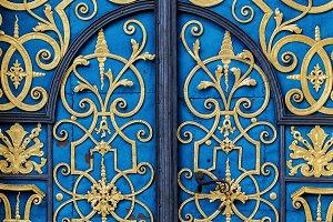 Traditional european facade with entance door