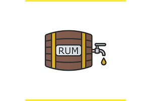 Rum wooden barrel icon. Vector