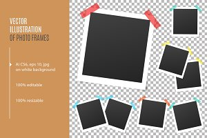 Square photo frames on adhesive tape