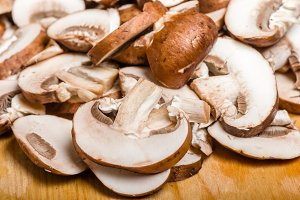 Sliced fresh mushrooms