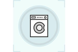 Washing machine icon. Vector