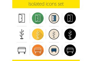 Furniture. 12 icons. Vector