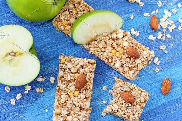 Cereal Bars Of Granola With Apples Nuts And Honey