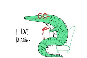 Crocodile reading a book