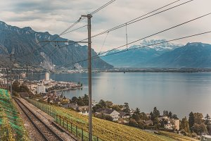 Railroad tracks in Montreux