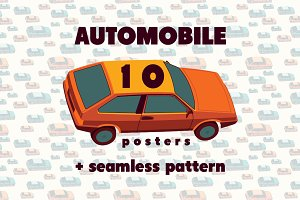 Retro Car typographic vintage poster