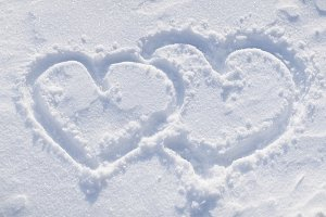 shapes of heart on the snow.
