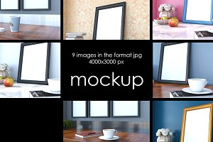 Mockup. Frame on table. 7 JPG files.