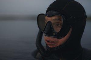 Scuba diver submerged