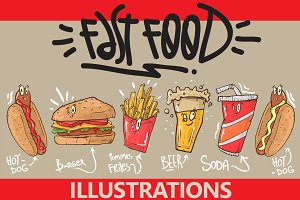 Fast Food Illustration Set