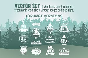 Set of Wild Forest retro labels.
