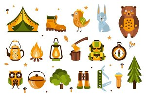 Camping Associated Symbols Illustration