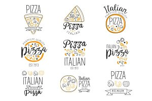 Italian Pizza Fast Food Promo Labels Collection