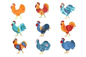 Rooster Similar Drawings Set Colored In Different Styles