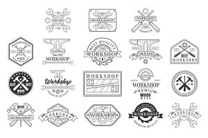 Wood Workshop Black And White Emblems