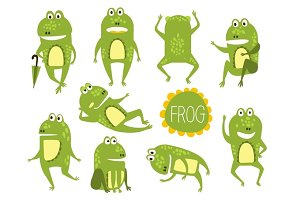 Frog Cute Character In Different Poses Childish Stickers