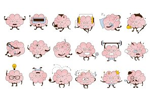 Brain Different Activities And Emotions Icon Set