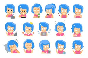 Little blue Head Girl Cute Portrait Icons