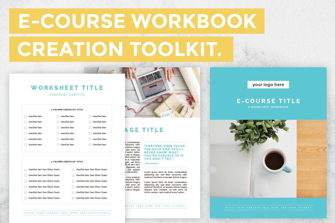e course workbook creation toolkit templates creative market