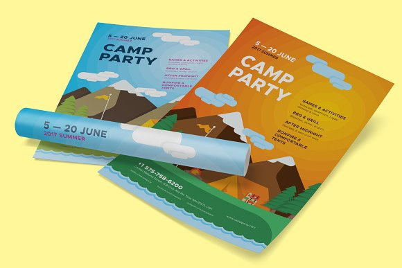 Camp Party Poster Template