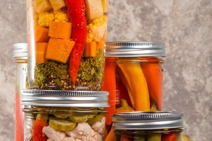 Mason jars of mixed vegetables