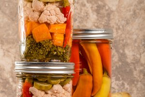Pickled mixed vegetables in jars
