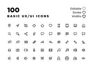 100 Basic UX/UI Icons