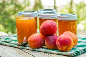 Jars of apricot jam