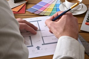 Designer writing plan design project