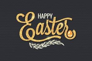 Easter Vintage Gold Lettering.