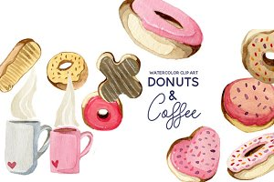 Donuts & Coffee Watercolor Clip Art