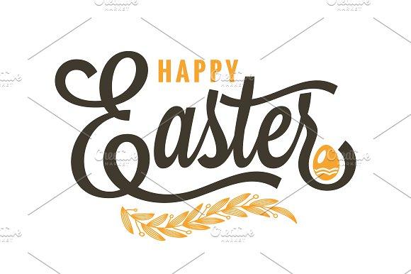 Easter Vintage Lettering On White