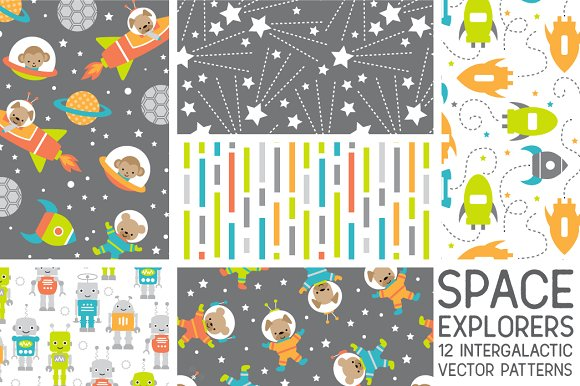Space Explorers Vector Patterns