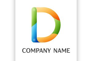 D letter colorful logo