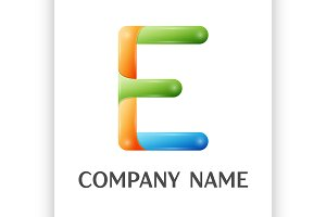 E letter colorful logo