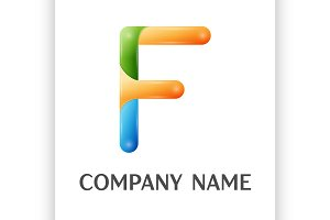 F letter colorful logo
