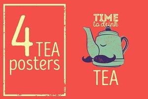 Tea typographic vintage poster.