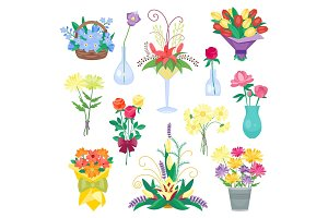 Set of vintage floral vector bouquet garden flowers.
