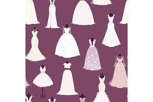 Wedding bride dress vector seamless pattern