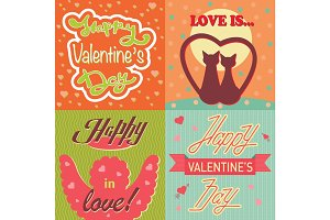 Valentine day cards template vector.