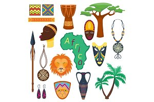 Africa jungle tribal and ancient safari vector illustration.