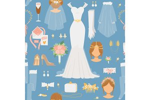 Wedding cartoon bride icons vector seamless pattern