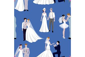 Wedding couple indoors is hugging each other vector seamless pattern