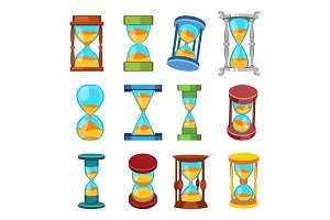 Sand clocks vector isolated.