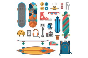 Skateboard fingerboard icon vector sport equipment.